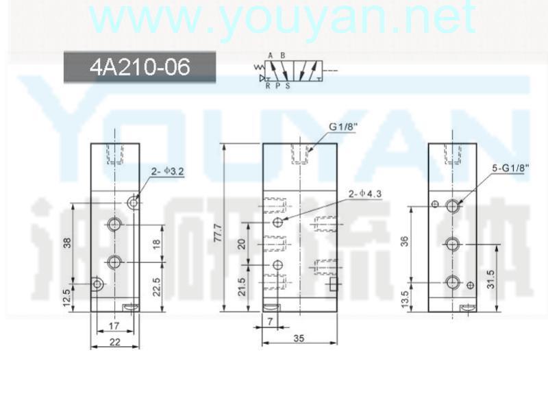 二位五通气控阀 4A210-06  油研气控阀