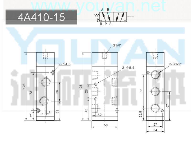 二位五通气控阀 4A410-15  油研气控阀