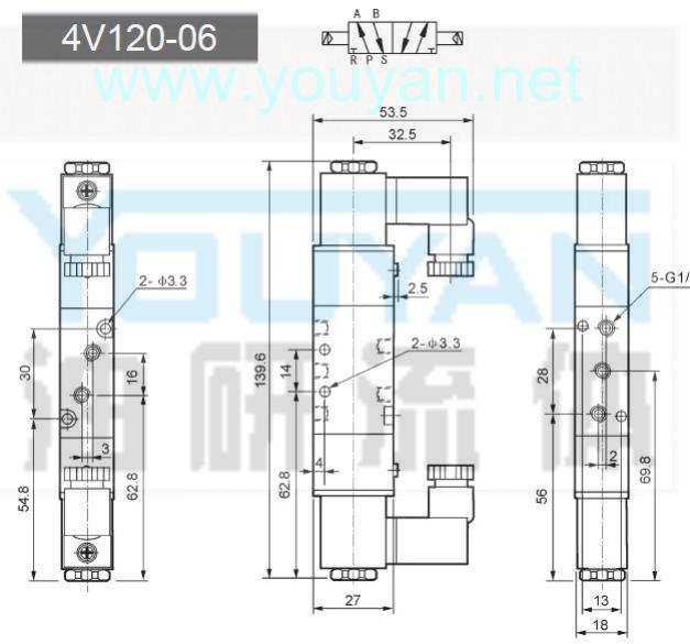 二位三通电磁阀 3V120-06 油研电磁阀