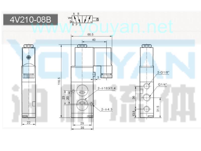 二位五通电磁阀  4V210-08B  油研电磁阀
