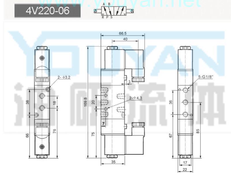 二位五通电磁阀  4V220-06   油研电磁阀
