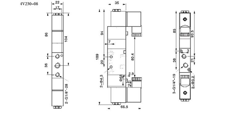 三位五通电磁阀 4V230-08 4V230C-08 4V230E-08 4V230P-08