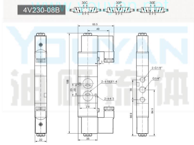 三位五通电磁阀 4v230-08b 油研电磁阀