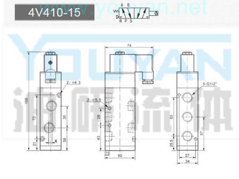 二位五通电磁阀 4V410-15 YOUYAN油研电磁阀