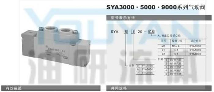 气动阀  SYA3120-M5 SYA3220-M5 SYA3320-M5 SYA3420-M5 SYA3520-M5  油研气动阀