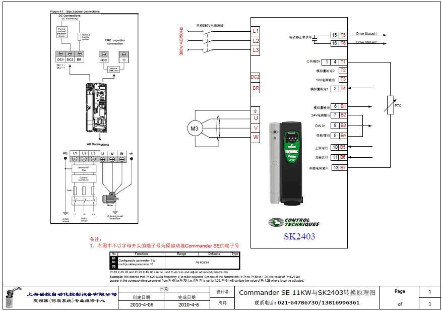 伺服实物接线图-Commander SE升级为Commander SK的应用