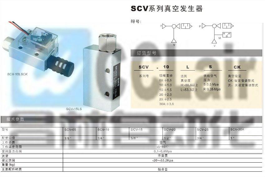 scv-05,scv-10,scv-15,scv-20,scv-25,scv-30a,真空发生器图片