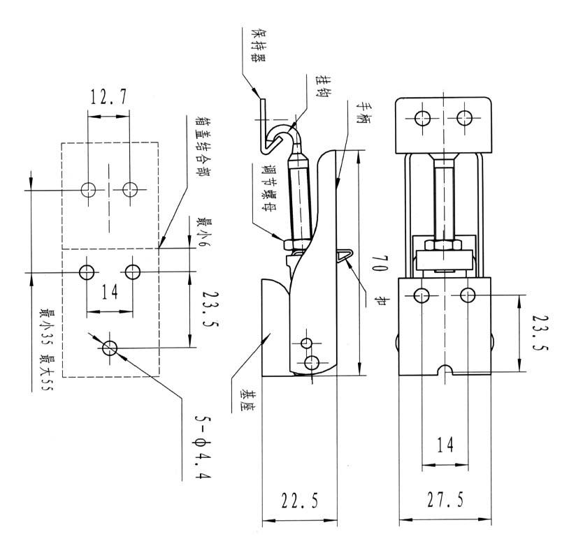 结构功能:翻盖式搭扣;翻盖通过按扭固定;通过调节螺杆可控制扣紧