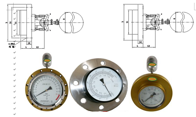 UQZ-1、UQZ-2系列浮球液位计应安装在其浮球上下运支时不受妨碍的位置上。连杆摆角与指针摆角齿轮速比有1:25和1:3.4,齿轮材质有不锈钢和铜合金,连杆长度根据罐体实际高度而定。被测介质不应含有铁磁性杂质。 为了防止运输时UQZ-1型仪表的浮球的密封管上高速滑落或撞击,引起测量带脱出,故仪表在出厂前,用卡箍将浮球固定在密封管底部,磁钢在密封管顶部。用户在安装使用前应先拆去卡箍,将浮球上升至密封管顶部。然后轻缓地将浮球下移,指针作相应的转动。 UQZ-1型仪表的面板指示形式类似手表指示形式。长指针刻度