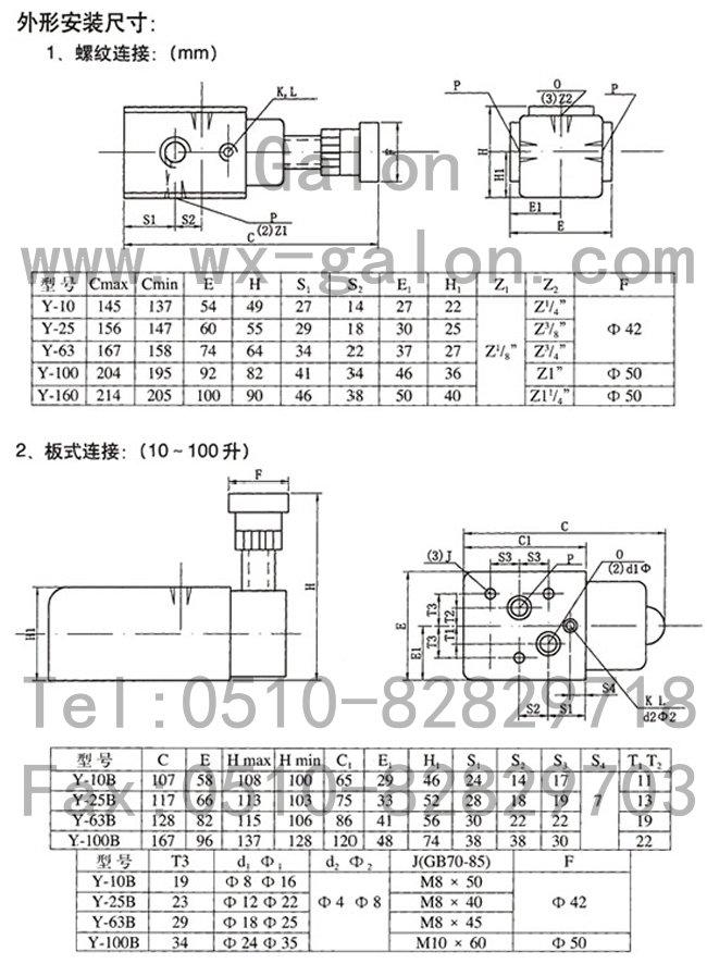 y-63,y-100,溢流阀图片