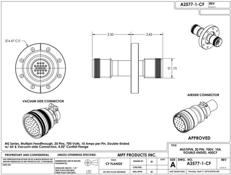 MS 多针电馈通技术参数: 电压(voltage):700 Volts 电流(Current): 75 Amps 针数(Pin): 20 Pin 0.056 or 0.062 镍铝合金导体 螺纹环形接头(符合MIL-C-5015标准),中度密集针数,超高真空级,穿通件可烘烤温度达450度,包含空气端和真空端接头。  您好,如果您需要了解更多关于MS多针电馈通(feedthrough)的资料,请联系 027-87208629/sales@whpusite.