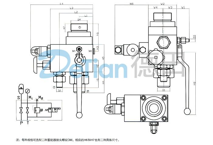 外形尺寸; ajs-10,ajs-20,ajs-32,蓄能器控制阀组;; 图片