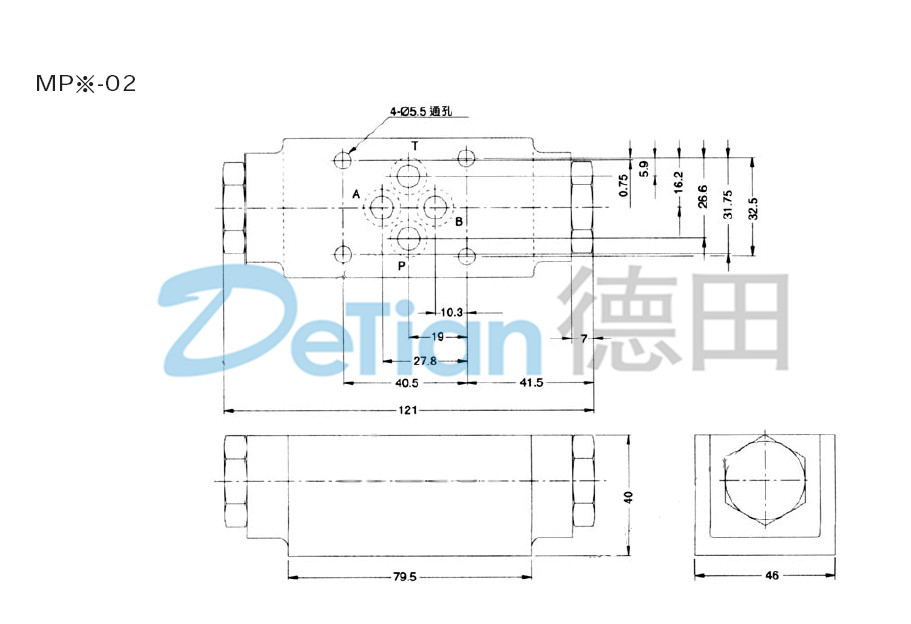 叠加式液控单向阀mpw-04尺寸图图片