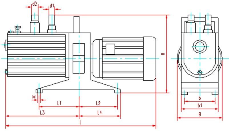 机械真空泵 cy-2xz  cy-2xz系列直联式旋片机械真空泵 安装尺寸: 型号
