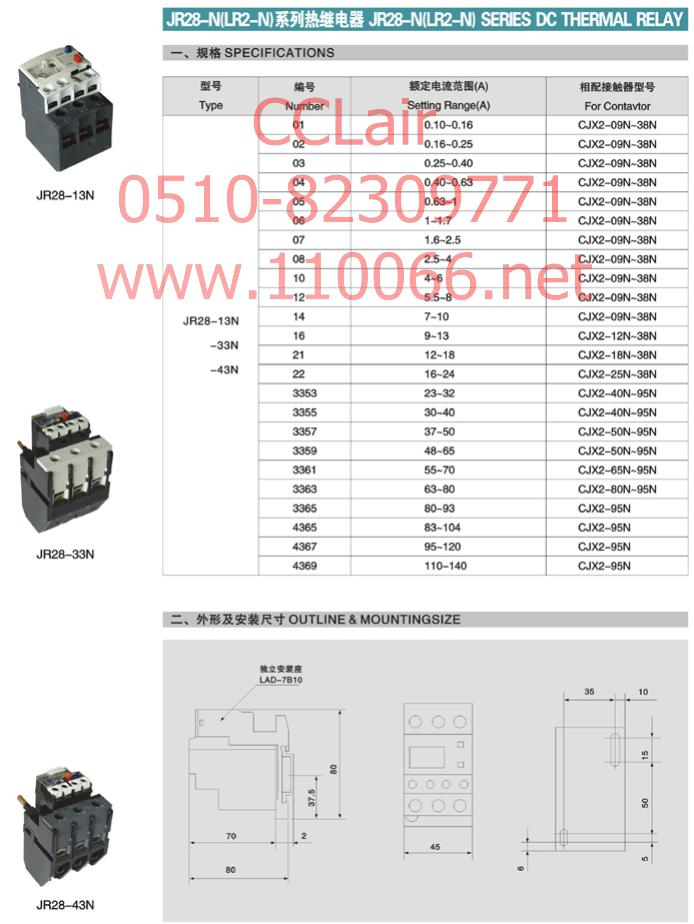 热继电器     JR28-13N       JR28-33N        JR28-43N
