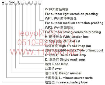 防爆路灯    eB54-300L         eZ54-250L
