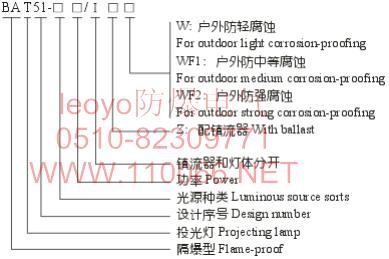 隔爆型投光灯    BAT51-Z250/ⅠZW         BAT51-Z250/ⅠZWF1
