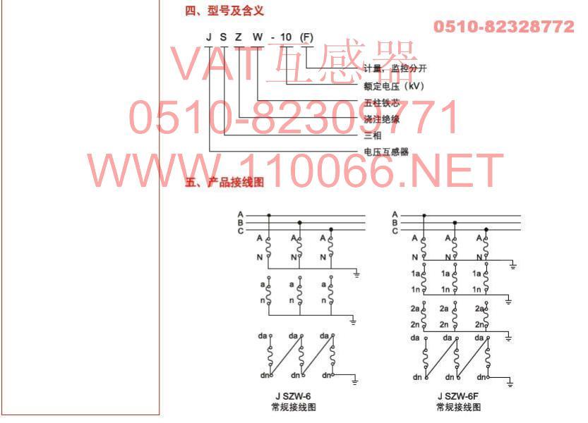 三相五柱电压互感器 jszw-6 jszw-6f图片