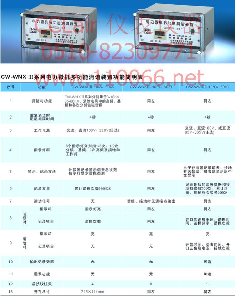 电力微机多功能消谐装置    CW-WNXIII-10/A        WNXIII-10/A