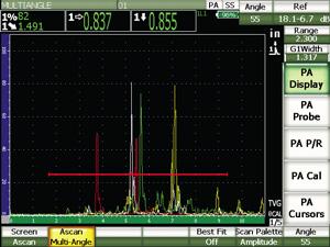 EPOCH 1000多角度相控阵模式的屏幕