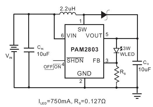 0.8v~3.6v升壓1w、3w大功率led驅動pam2803