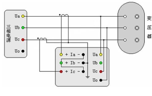 三相三线电源测量三相变压器空载损耗的pt和ct接线示意图片