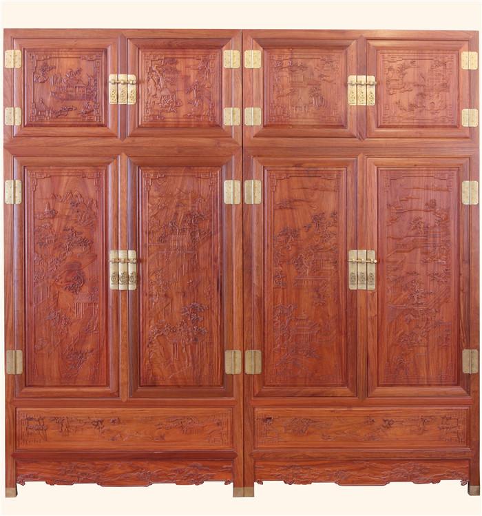 雕花顶箱柜2件套-古典家具-红木精品顶箱柜-缅甸花梨