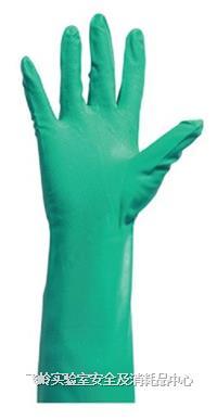 加厚型绿色丁腈手套 非一次性;无粉,麻面