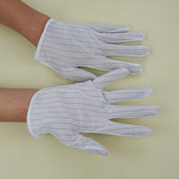 東莞批發雙面防靜電條紋點膠防滑手套