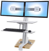 WorkFit-S 双显示器工作站带工作台面 (亮白) 部件号 33-349-211   部件号 33-349-211
