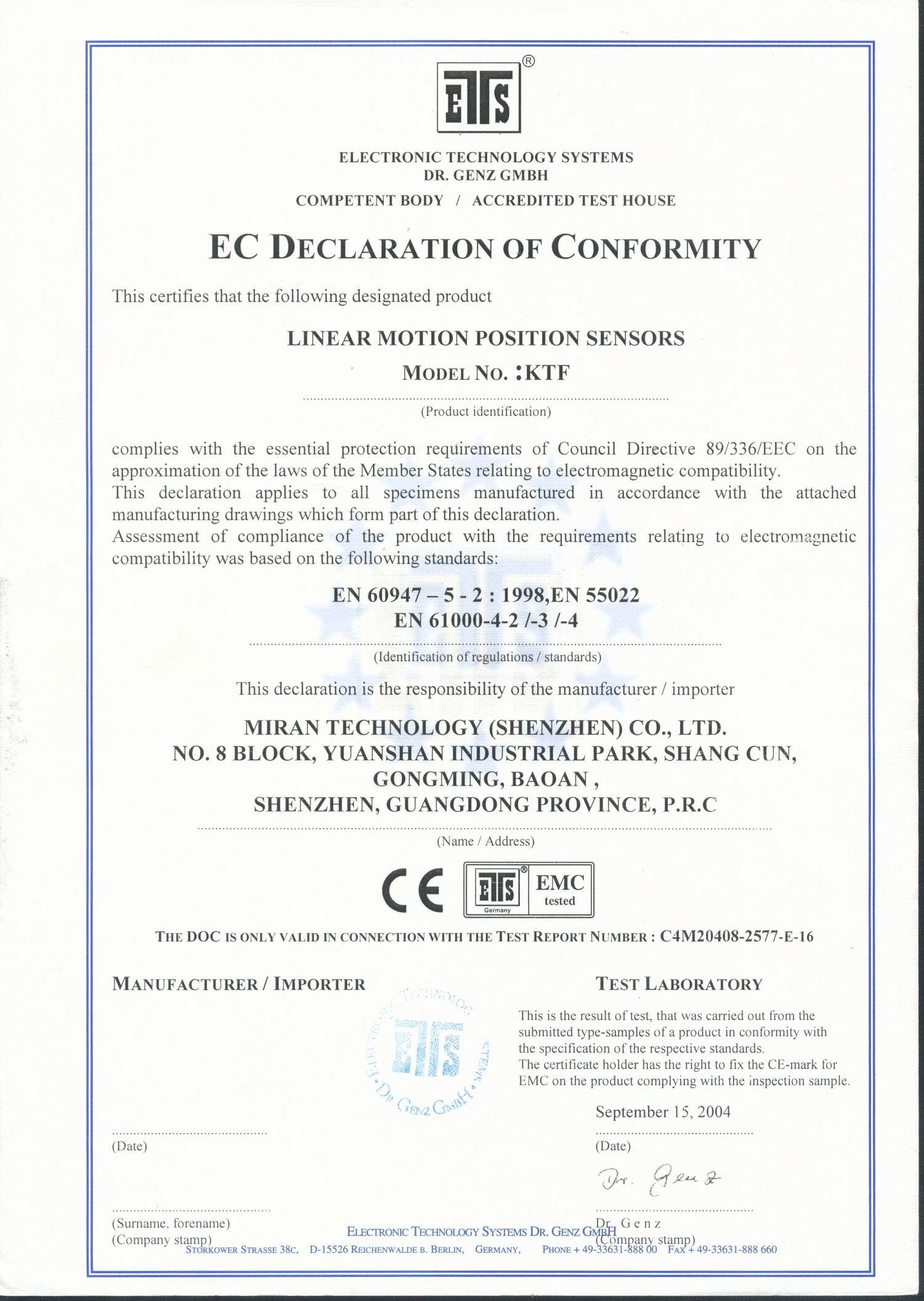 KTF直線位移傳感器CE認證證書