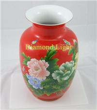 Red glazed porcelain Chinese wax gourd vase