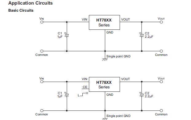 HT78XX系列是利用CMOS技术制造的低压差稳压器,可提供高达500毫安电流,固定输出电压支持1.8V到5V的宽广范围。因HT78XX系列具有超低功耗的优点,所以特别适用于相机、手机及手提游戏机等使用电池之低功率产品。 HT78XX产品主要应用领域包括:电池供电设备;通讯设备;音频视频设备、PCMCIA卡等。