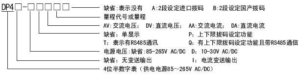 DP4-DV数显直流电压表|东崎Toky4位半直流电压表|DP4-PDV数字带上下限设定直流电压表头 选型说明