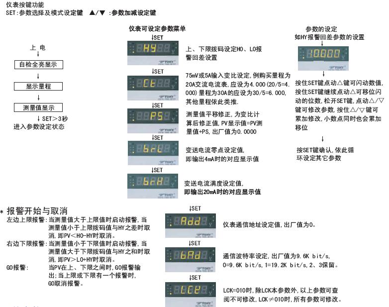 DP4-AA数显交流电流表|东崎Toky4位半交流电流表|DP4-PAA带上下限设定交流电流表头 操作说明