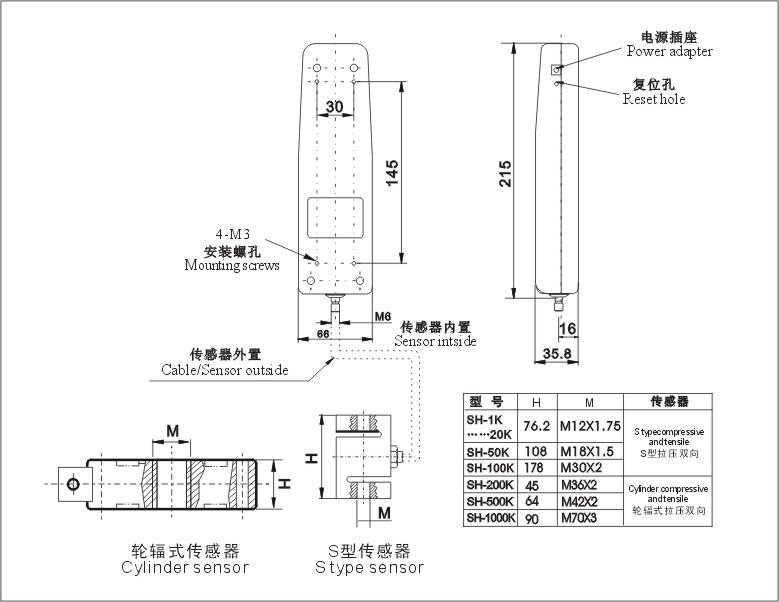 外置传感器數顯式推拉力計